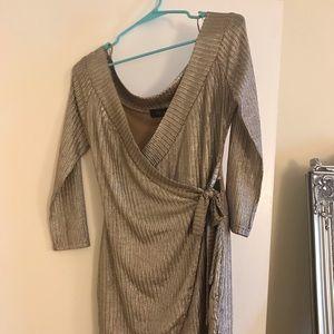 AKIRA silver metallic wrap dress